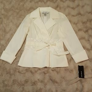 NWT Victor Costa formal top sz 8 PEARL WHITE